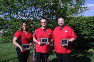 At the 2017 Lake Land College Associate Degree in Nursing Pinning Ceremony graduating nurses received their pins. Three students received awards during the ceremony. Pictured left to right are: Christine Martin, Toledo, recipient of the Associate Degree Nursing Peer Award; Brennan Debenham, Effingham, recipient of the Marilyn Fuqua Thompson Nursing Award and Jeremiah Roberts, Effingham, recipient of the Associate Degree Nursing Peer Award.