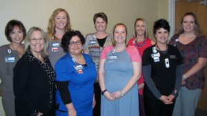Pictured left to right are: Pictured left to right: Kim Uphoff, Lisa Hernandez, Kaitlin Denson, Denise Foley, Michelle Buenker, Kayla Ogle, Courtney Croy, Rachel Clark, and Toni Lampe.