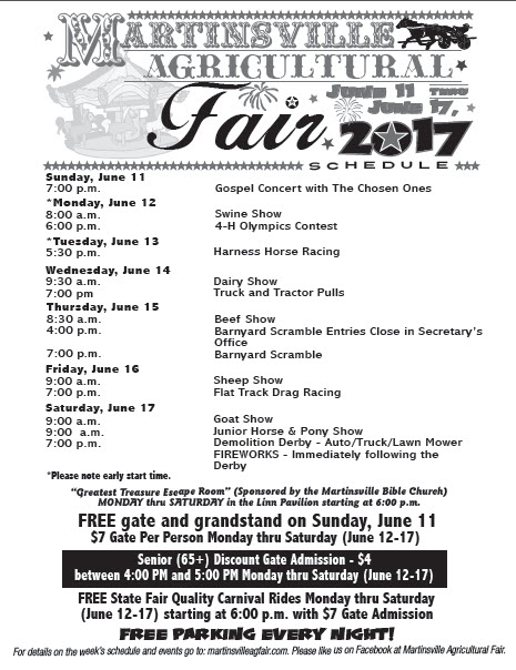 Martinsville Ag Fair Schedule Change: Tuesday, June 13