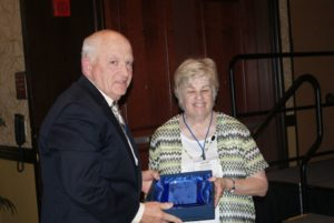 Mike Sullivan, Mattoon, Lake Land College Trustee, left, pictured with Kathy Spears, ICCTA secretary, was honored with ICCTA's 2017 Ray Hartstein Trustee Achievement Award. Sullivan also received two other honors: the 30-Year Trustee Award for longtime service on the Lake Land College Board of Trustees and the Linden A. Warfel Trustee Education Award for completion of 100 ICCTA professional development seminars.