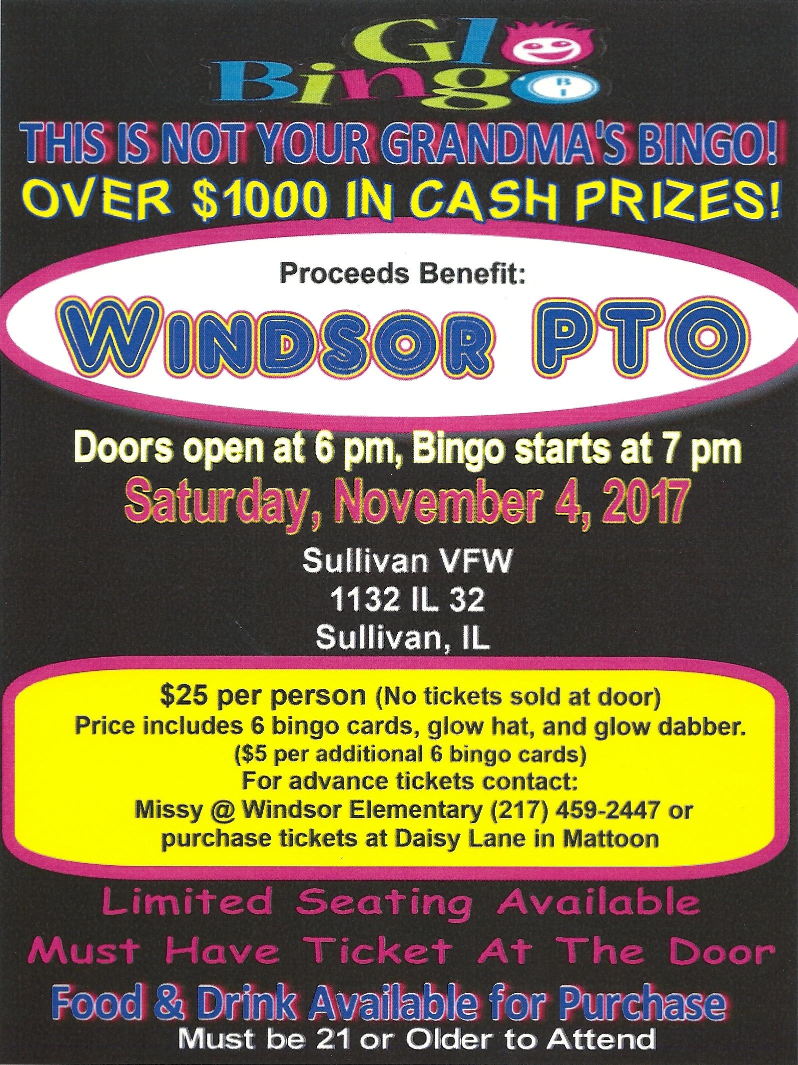 Windsor PTO Glo Bingo