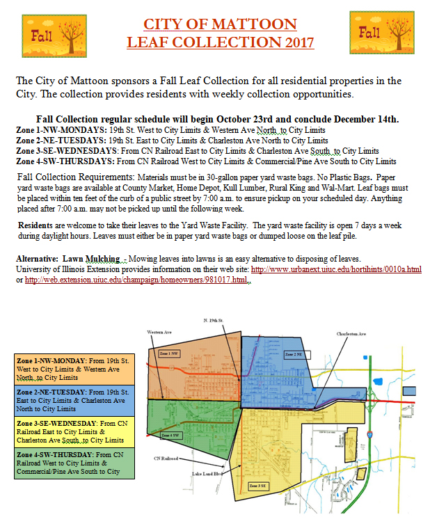 Mattoon Leaf Collection Schedule for Fall 2017