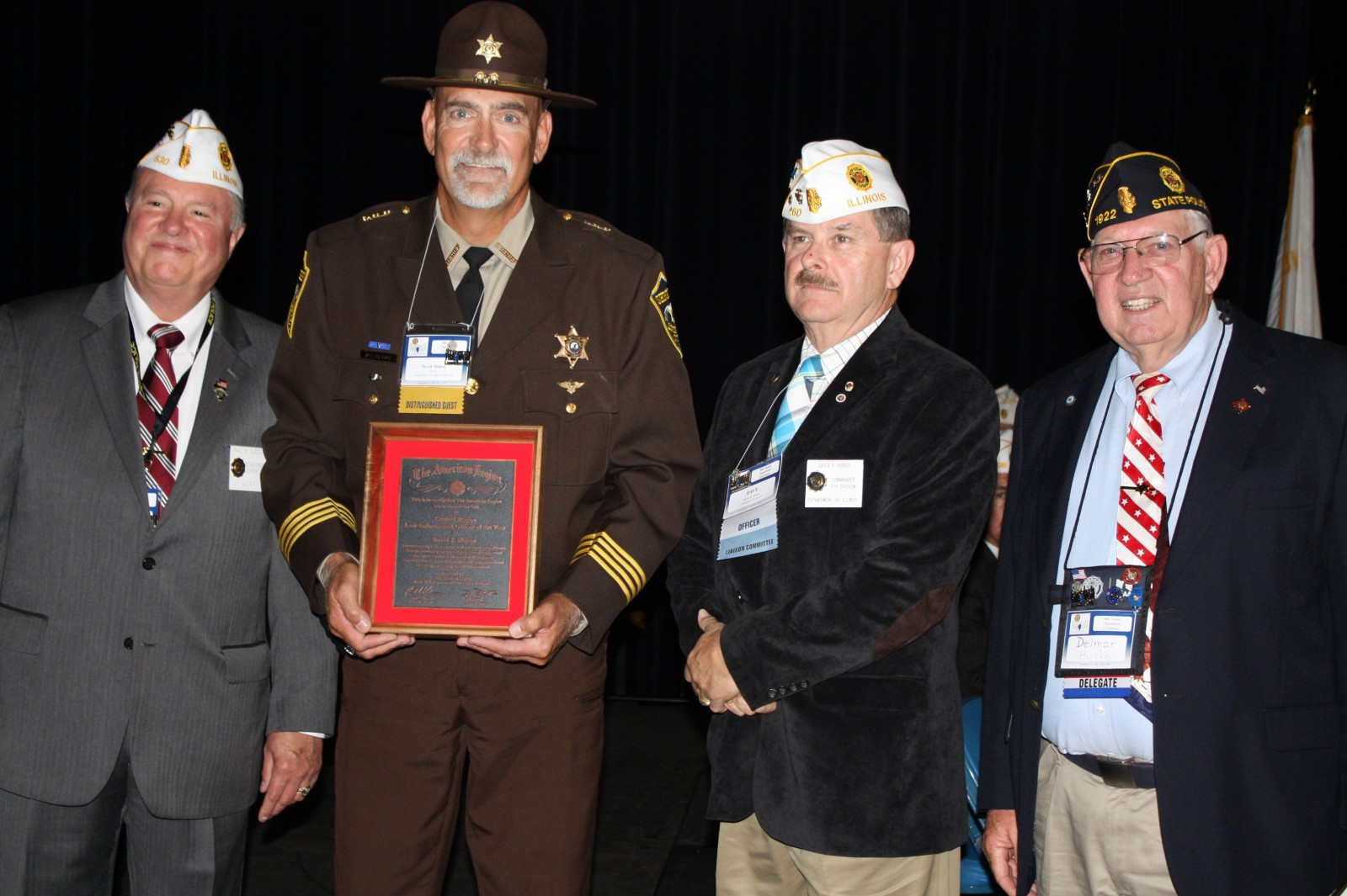 Pictured left to right: American Legion Illinois State Commander, Paul Gardner, Effingham County Sheriff Dave Mahon, 5th Division Commander and Vice-Chairman of Safety, Law and Order Committee, Dave Harris, and the Chairman of the Safety, Law and Order Committee, Delmar Buske.