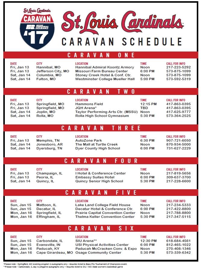 Cardinals Caravan 2017 Schedule