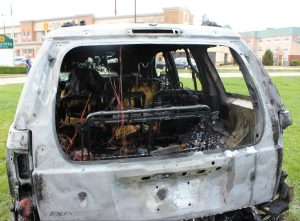The interior of the vehicle was destroyed in the fire.