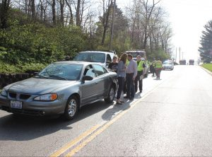 A five-vehicle crash shut down E. Fayette Monday afternoon.