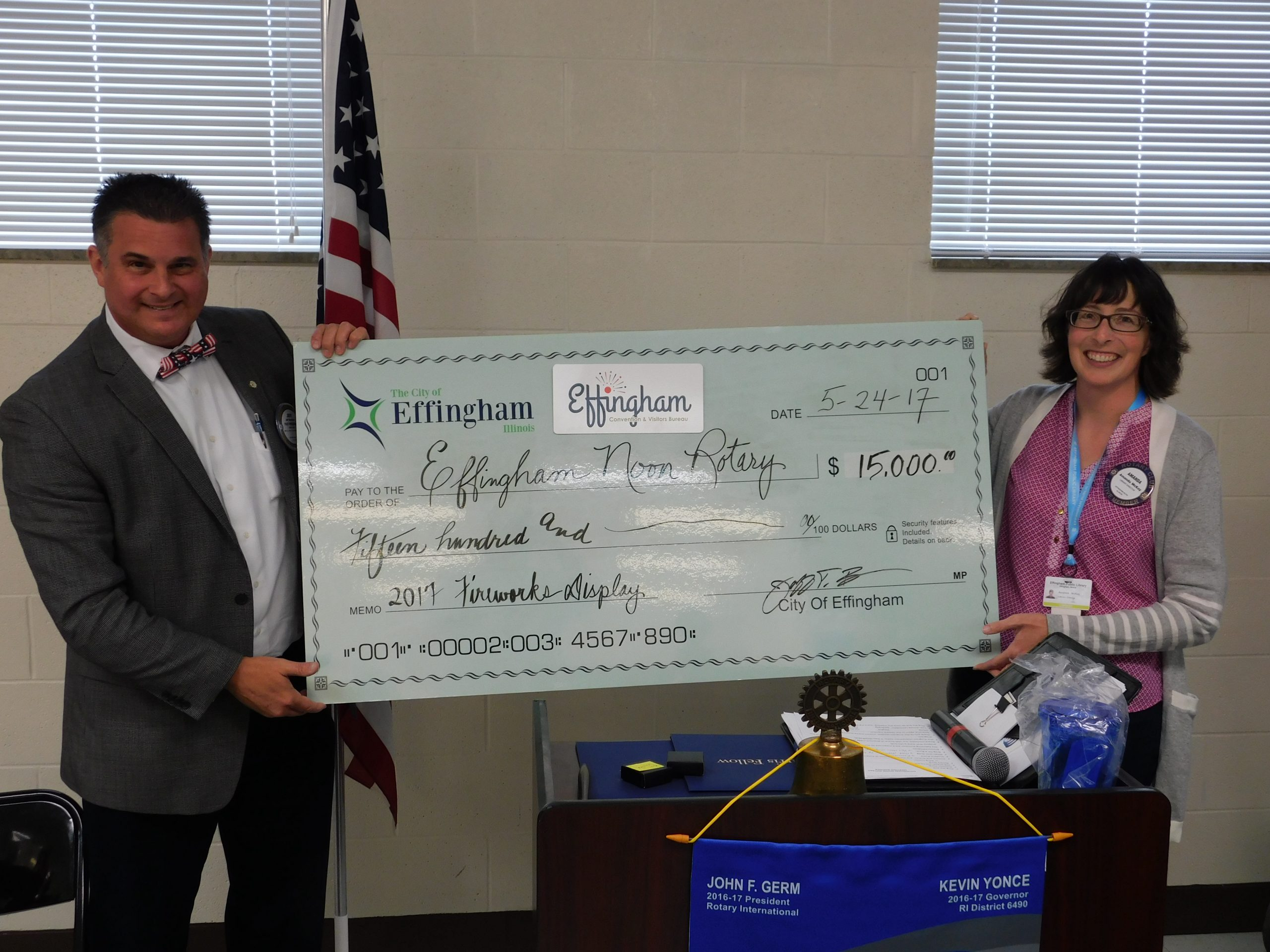City of Effingham Donates $15,000 to Effingham Noon Rotary for Independence Day Celebration