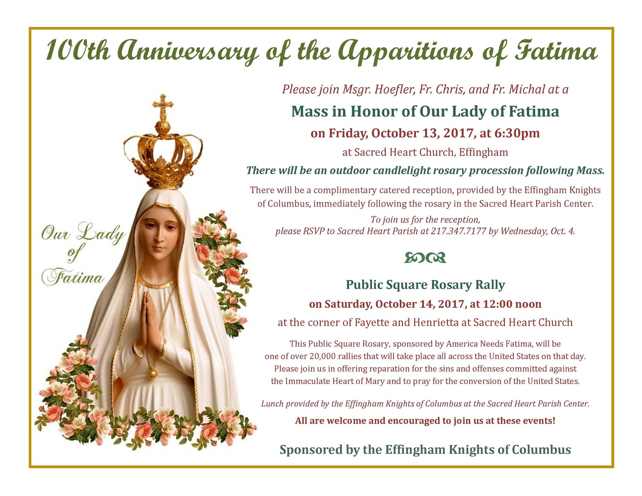 100th Anniversary Celebration of The Apparitions of Fatima Event Set For This Weekend