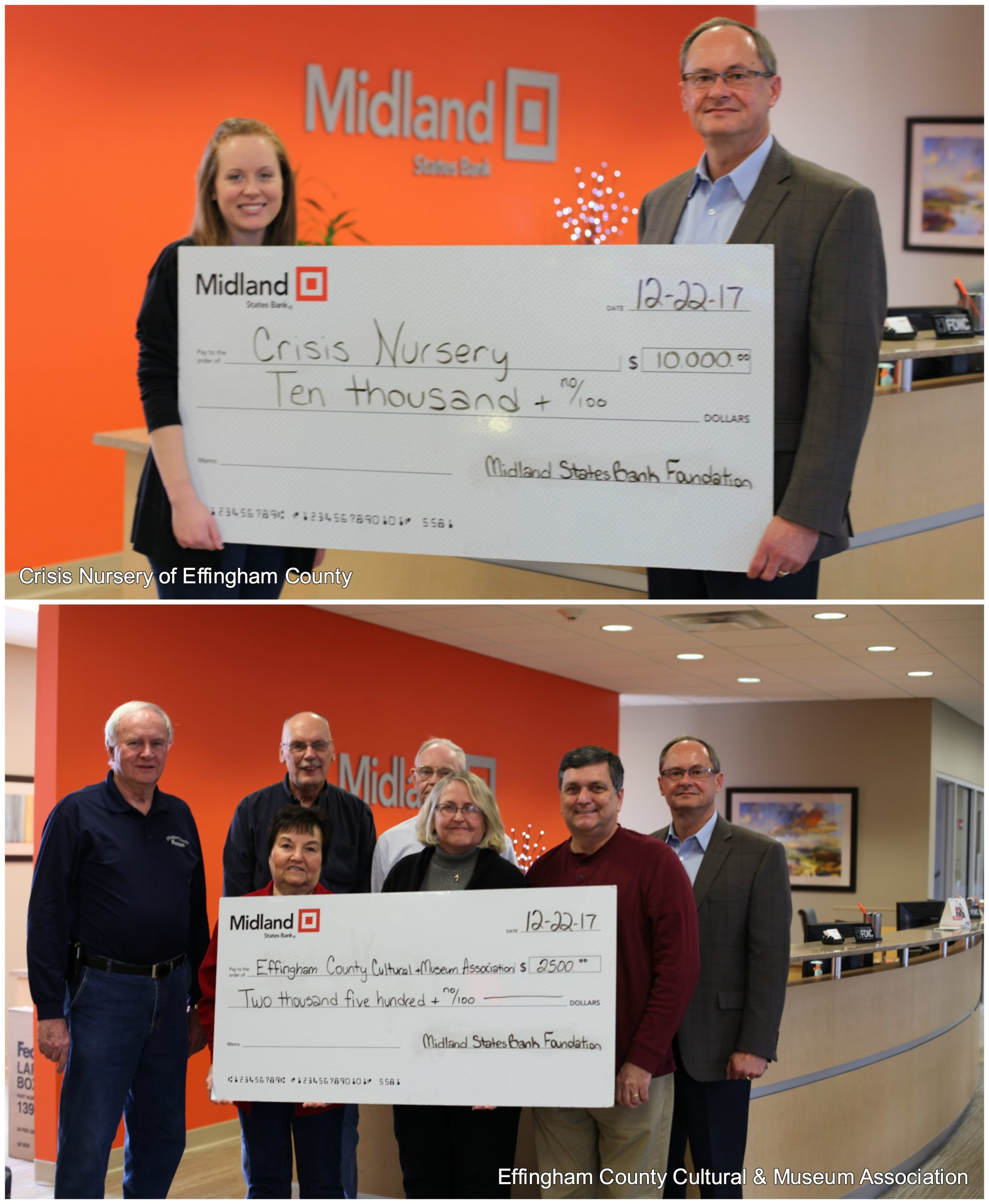Midland States Bank Foundation Announces Contributions to Effingham Organizations