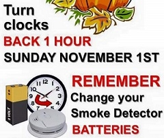 Set Clocks Back 1 Hour This Weekend!