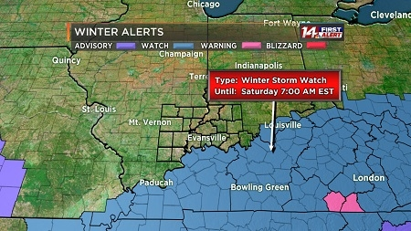 Winter Storm Watch Goes In Effect For Western Kentucky Thursday Evening
