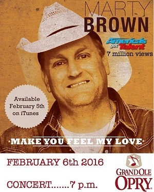 New Music From Marty Brown Today & The Grand Ole Opry Tomorrow Night!