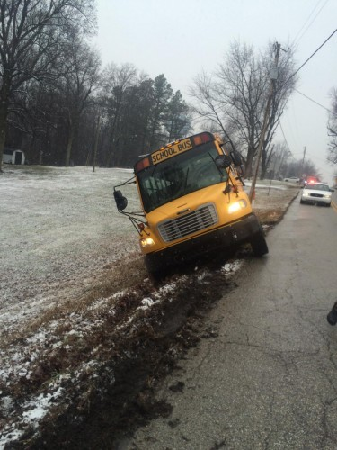 No One Injured When School Bus Slides Off Road