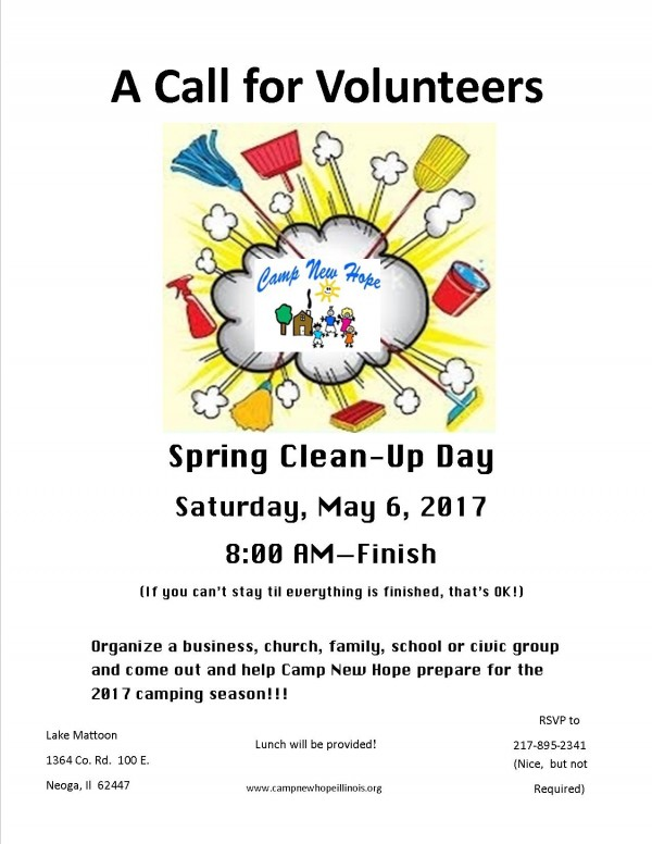 Camp New Hope Cleanup Day Volunteers Needed