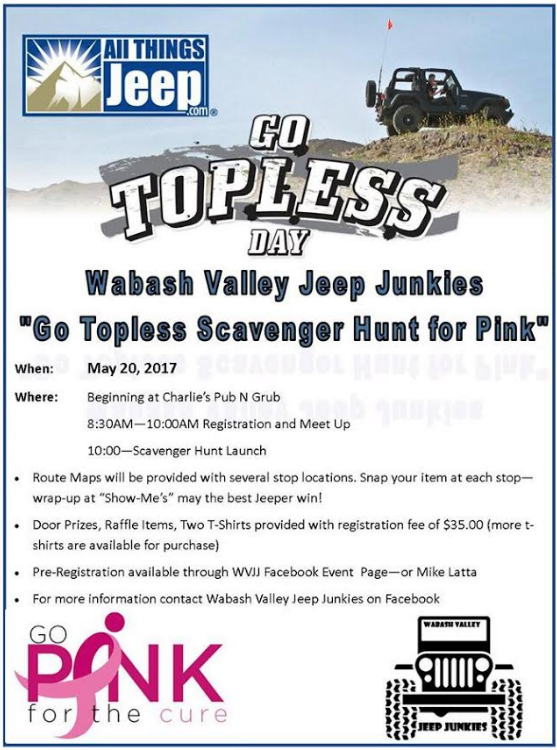 Go Topless Scavenger Hunt for Pink