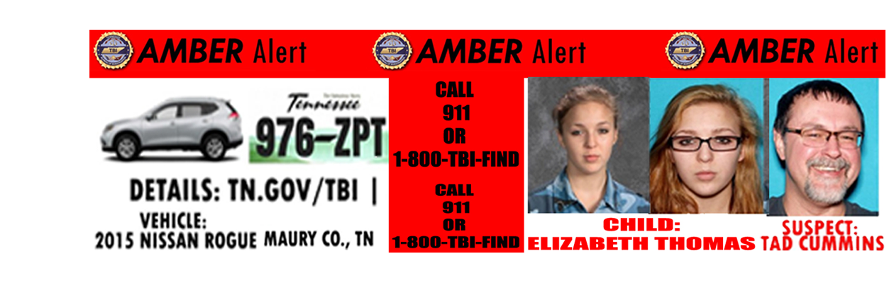 AMBER ALERT Issued for Elizabeth Thomas of Maury County, Tennesse