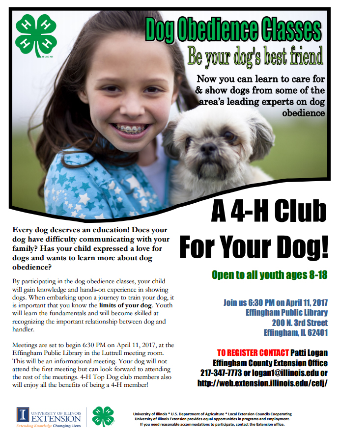 Effingham County 4-H Dog Obedience Classes for Youth Only