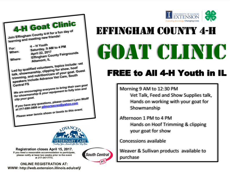 Effingham County 4-H Hosting a Goat Clinic
