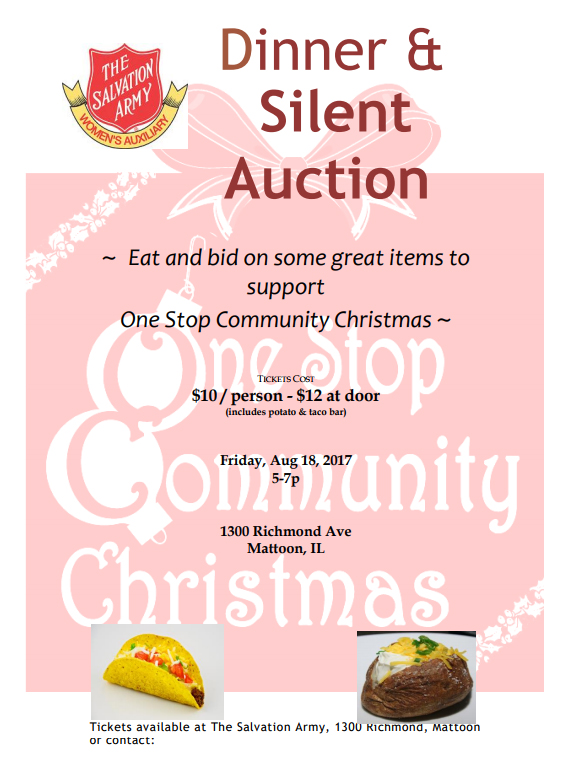 Salvation Army Women's Auxiliary to Host Dinner & Silent Auction