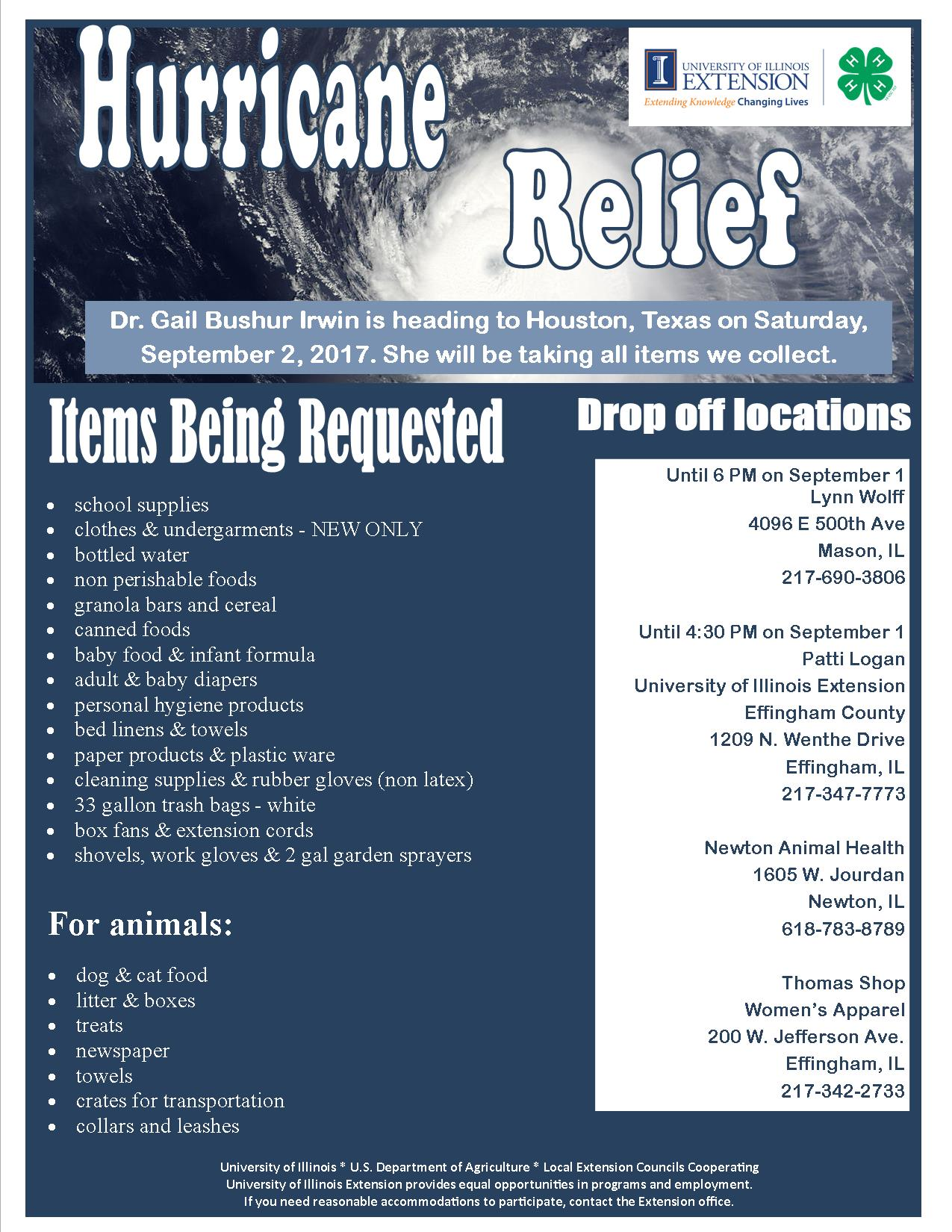 Hurricane Relief Items Being Accepted for Delivery this Saturday