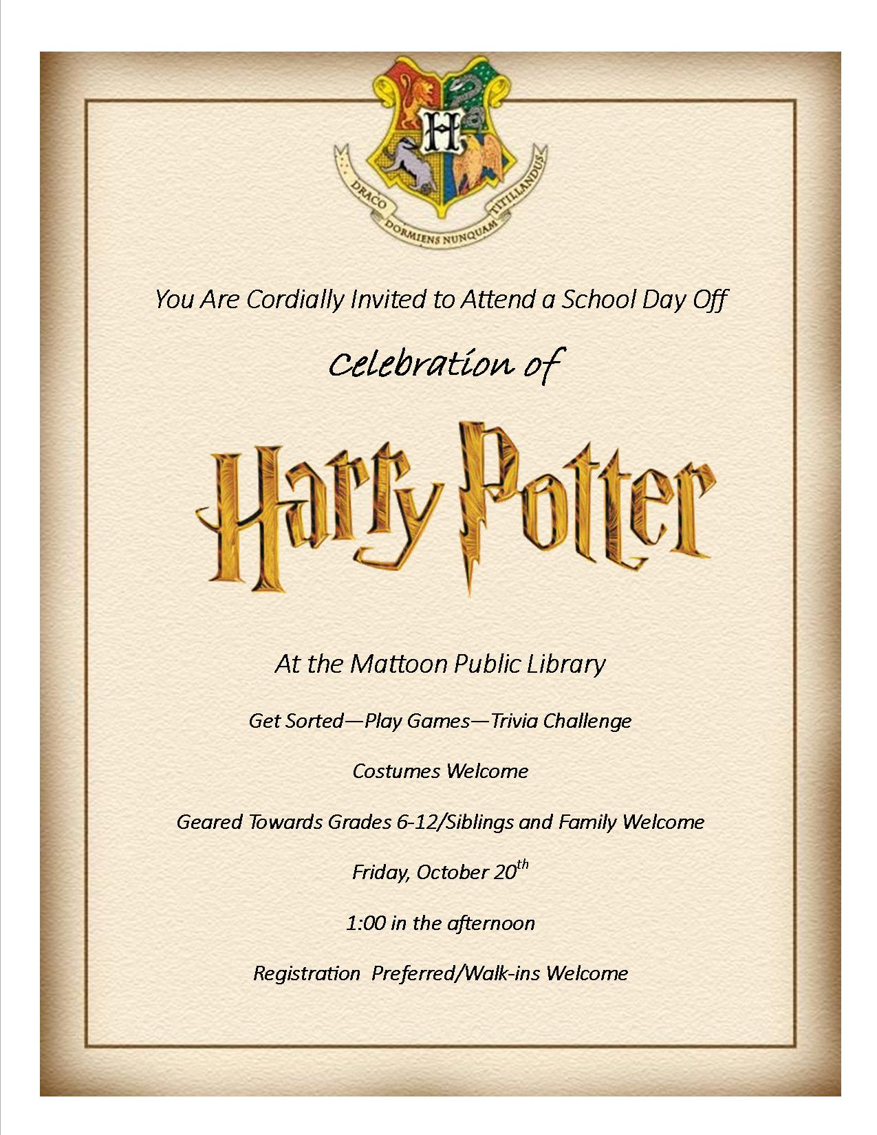 Mattoon Library to Host a Celebration of Harry Potter
