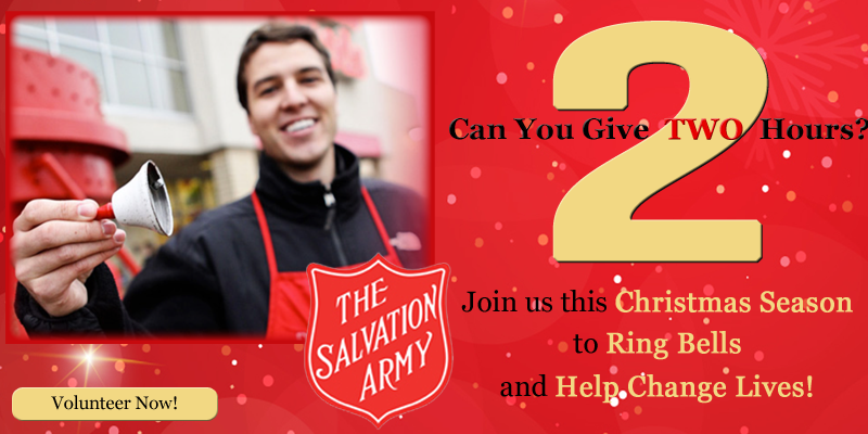 Salvation Army: Bell Ringers Needed