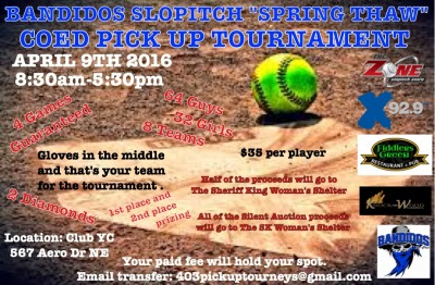 "Bandidos Slopitch ""Spring Thaw"" Tournament"