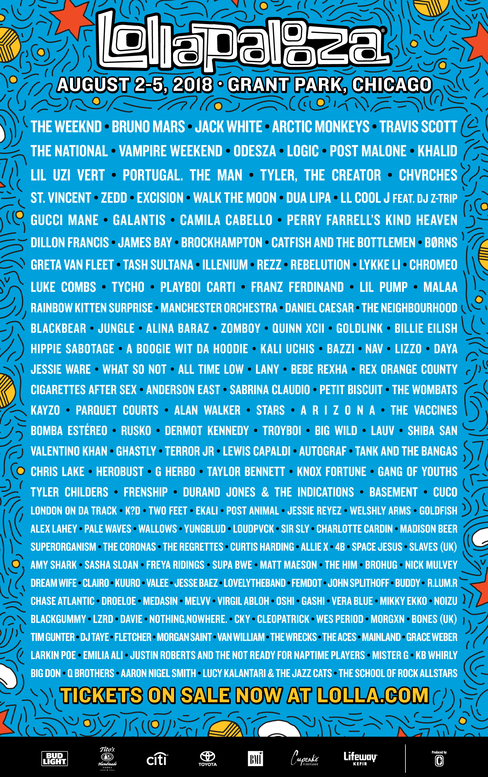 Image result for lollapalooza lineup 2018