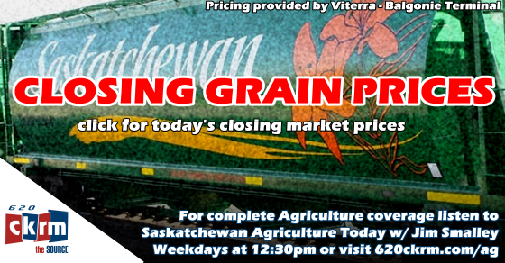Closing grain prices Wednesday April 25