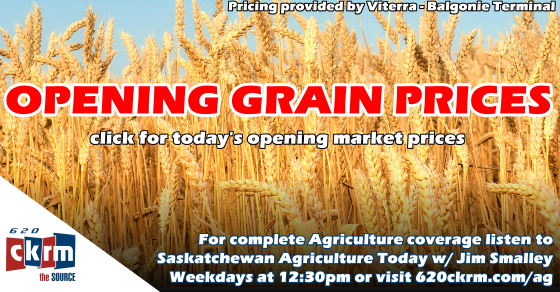 Opening grain prices Wednesday March 7 | 620 CKRM The Source
