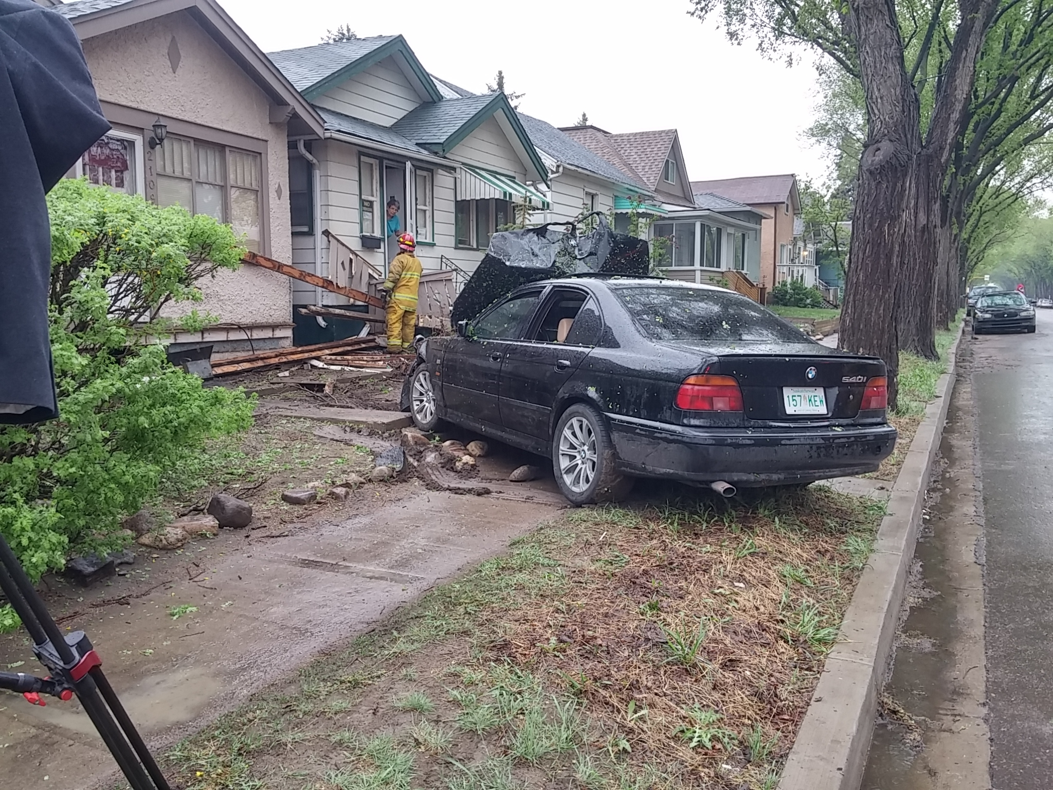 Update car collides with home on winnipeg street in for Car house