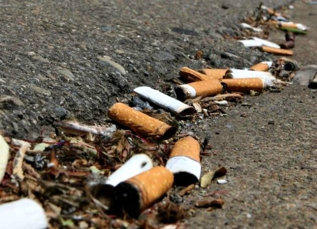 Regina Fire Marshal informing residents to keep cigarette butts off the ground