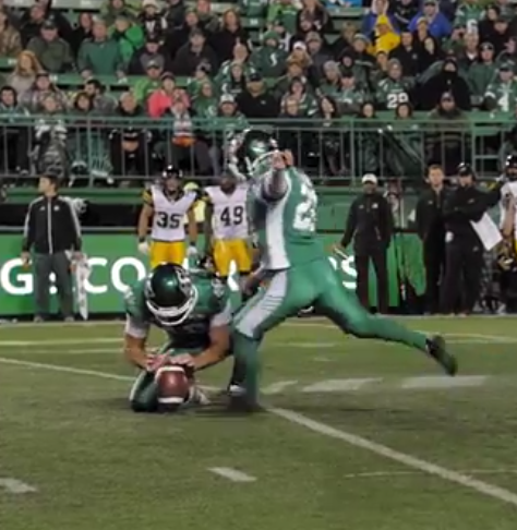 Riders kicker Tyler Crapigna glad for support from coach and teammates