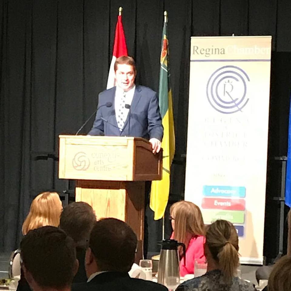 Federal Conservative leader Andrew Scheer attacks Liberal plans for tax change during Regina speech