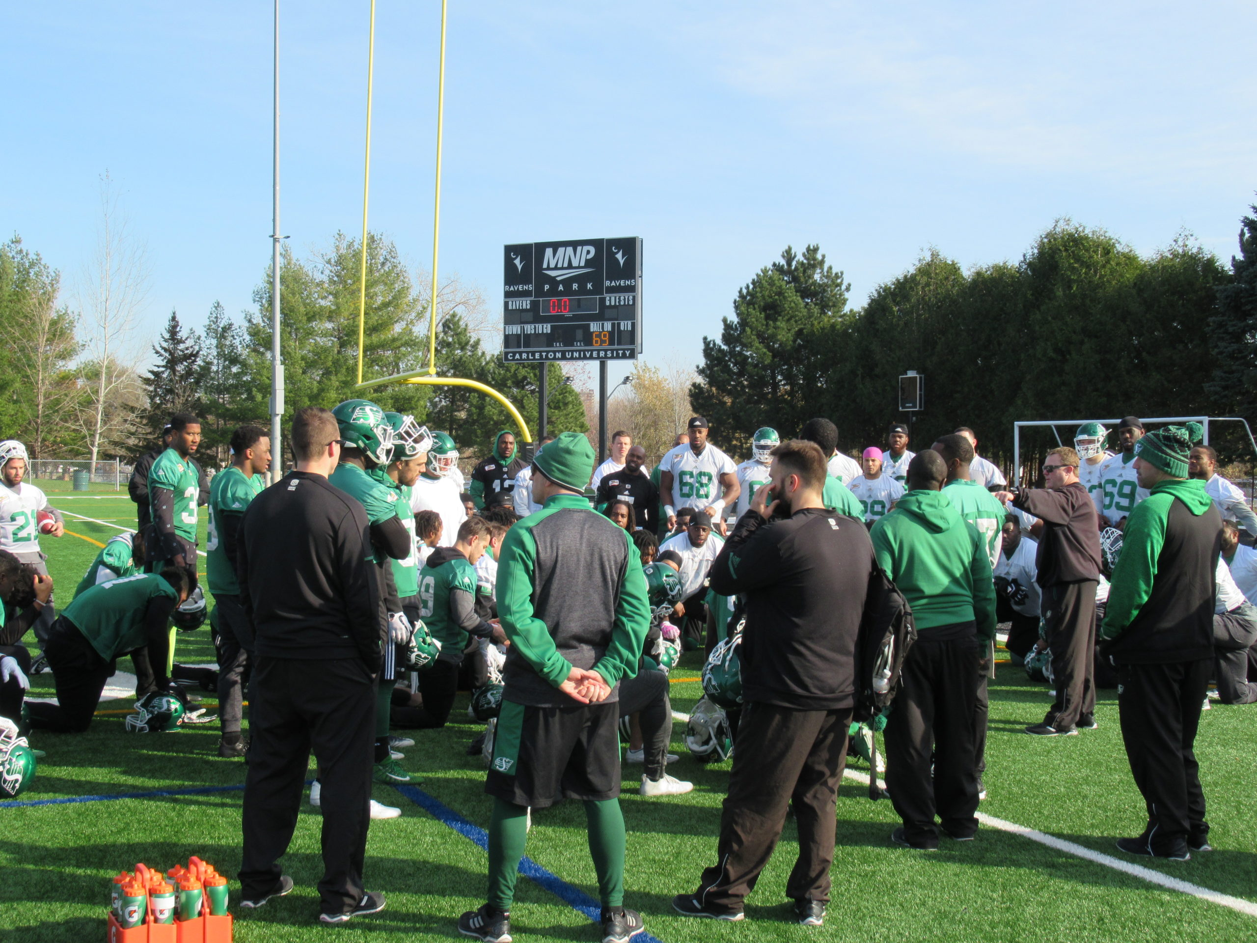 Brendon Labatte practices as Riders start getting ready for Sunday's CFL East Final