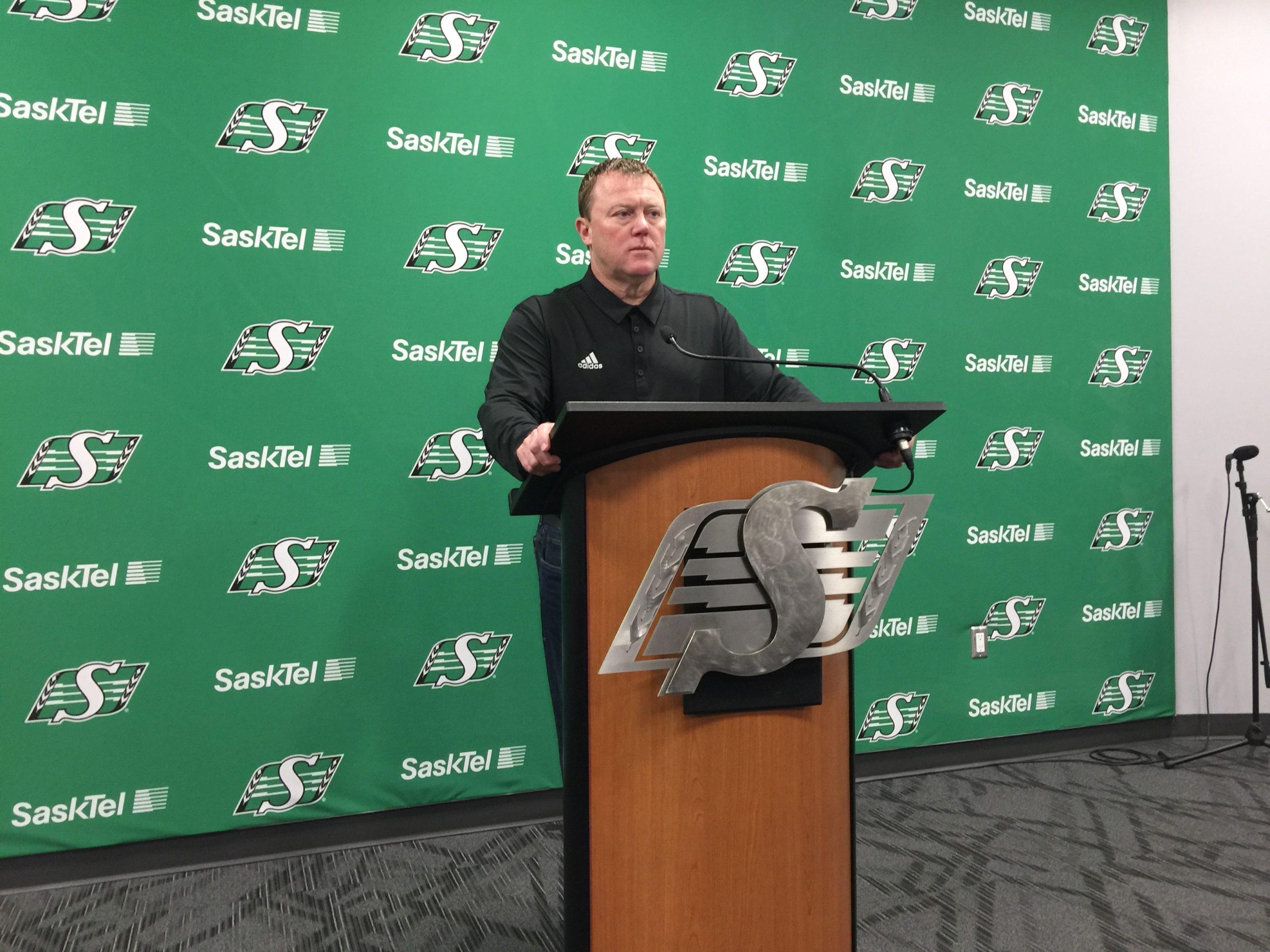 Riders HC/GM Chris Jones addresses media as team cleans out locker room
