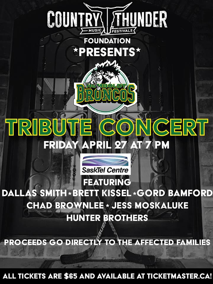 Country Thunder announces lineup for Humboldt Broncos tribute concert
