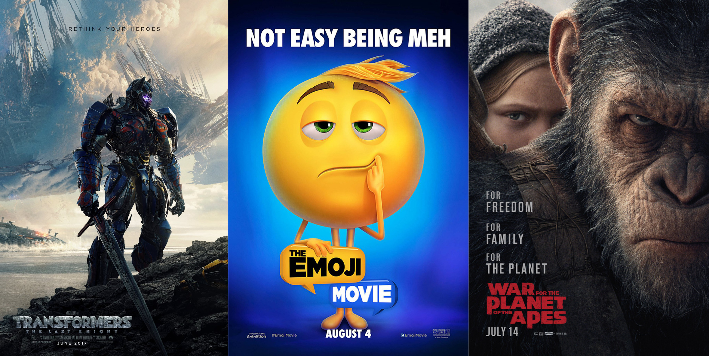 Trailer-Watchin' Wednesday - Transformers: The Last Knight, War for the Planet of the Apes, The Emoji Movie
