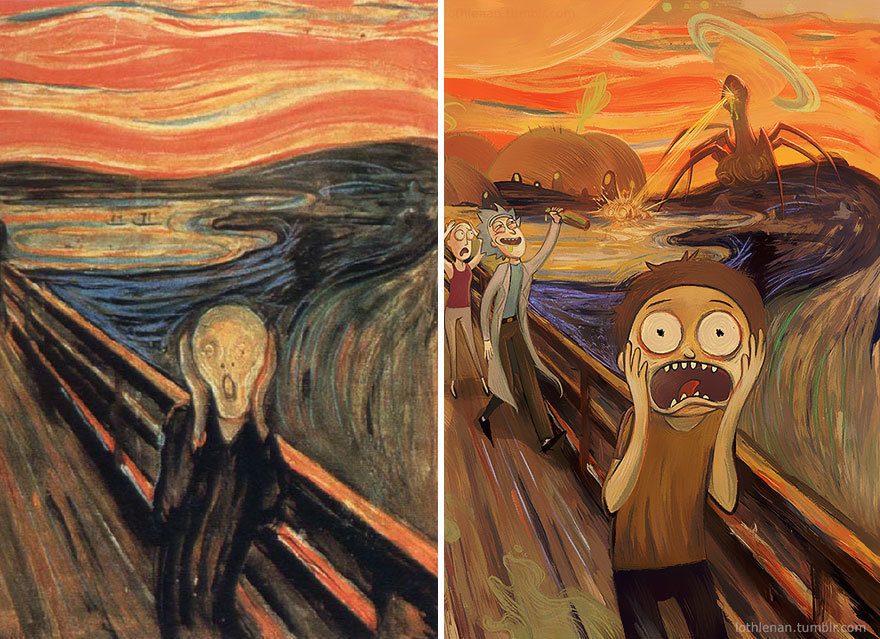 """The Scream"" by Edvard Munch + ""Rick and Morty."""