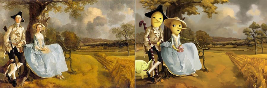 """Mr. and Mrs. Andrews"" by Thomas Gainsborough + Earl of Lemongrab and Lady Lemongrabs from ""Adventure Time."""