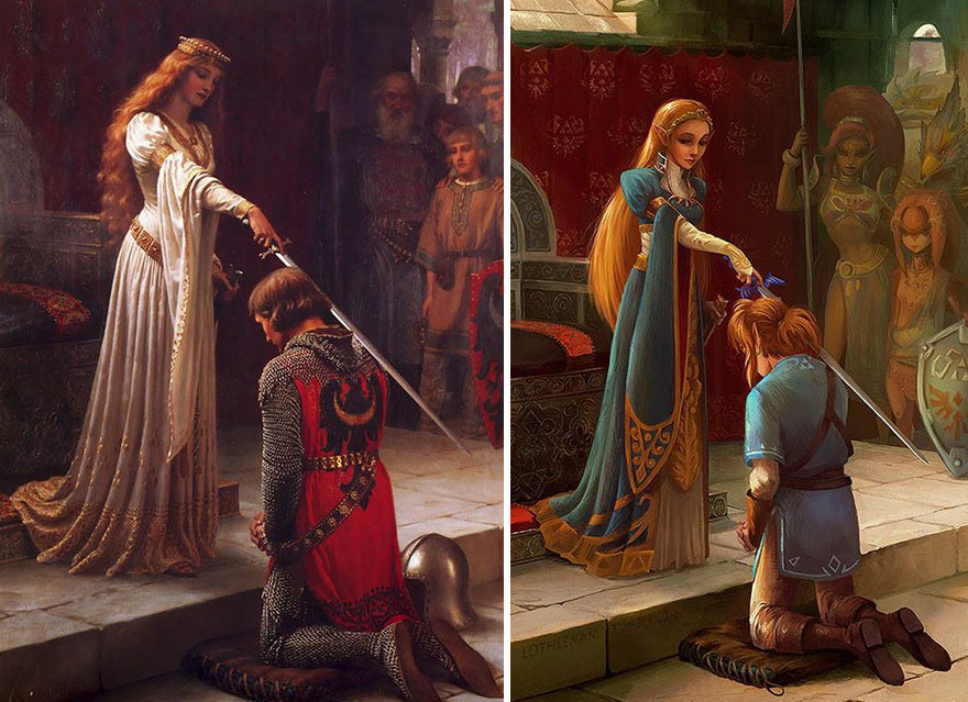"""The Accolade"" by Edmund Leighton + Link and Princess Zelda."