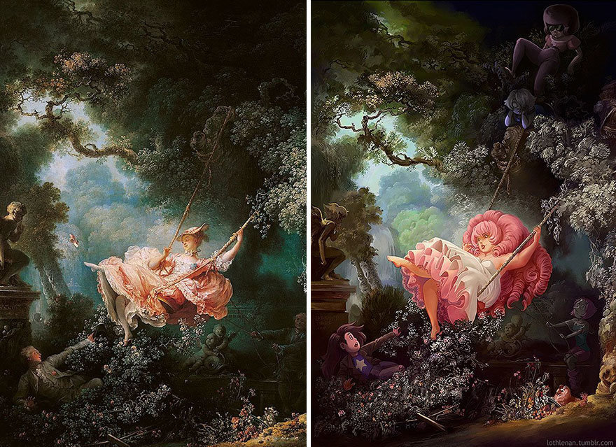 """The Swing"" by Jean-Honoré Fragonard + Rose Quartz from ""Steven Universe."""