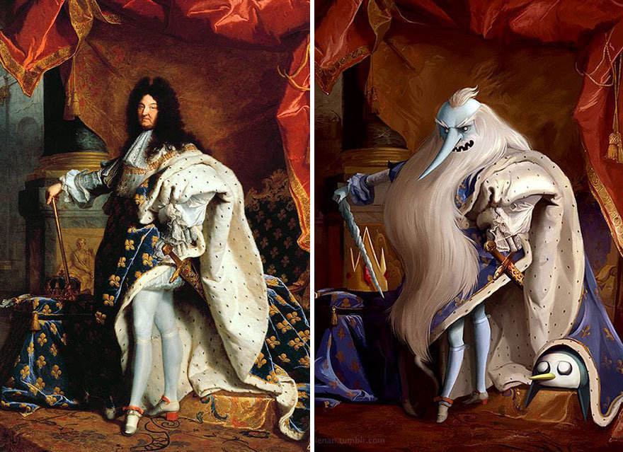 """Portrait of Louis XIV"" by Hyacinthe Rigaud + Ice King from ""Adventure Time."""