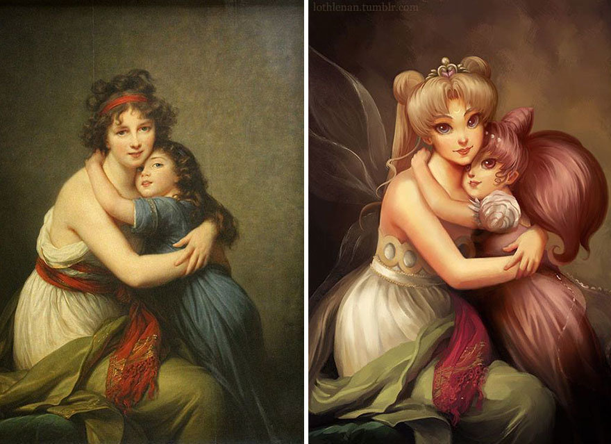 """Self-portrait with Her Daughter"" by Élisabeth Louise Vigée Le Brun + Sailor Moon and Rini."