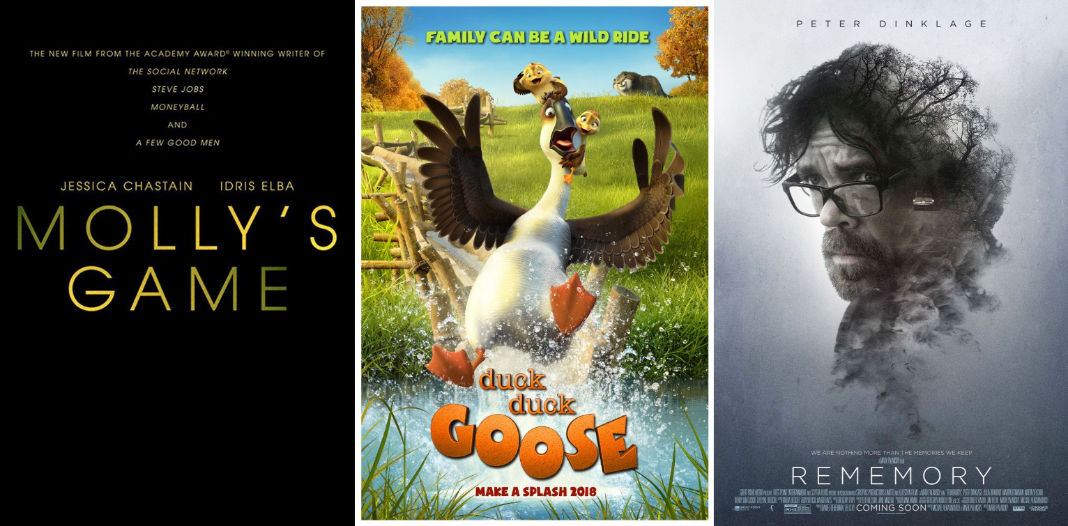 Trailer-Watchin' Wednesday: Duck Duck Goose, Molly's Game, Rememory