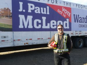 J. Paul Mcleod running for Ward 1 council seat in October's municipal election. // Jaryn Vecchio - Harvard Broadcasting