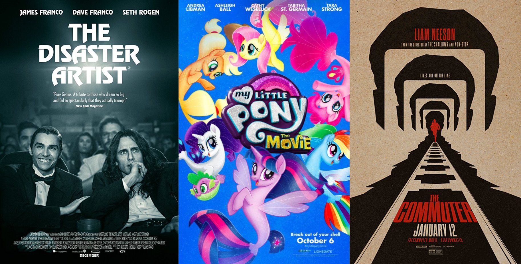 Trailer-Watchin' Wednesday: The Disaster Artist, My Little Pony, The Commuter