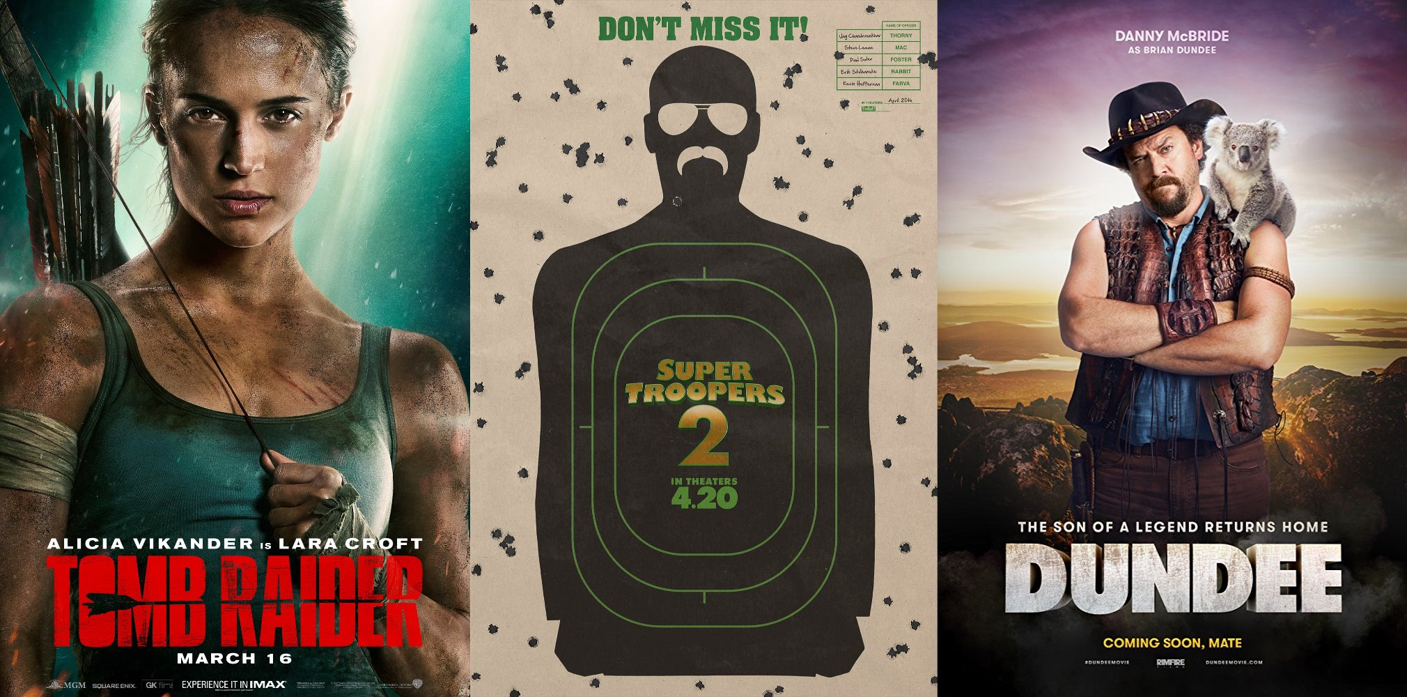 Trailer-Watchin' Wednesday: Tomb Raider, Dundee, Super Troopers 2