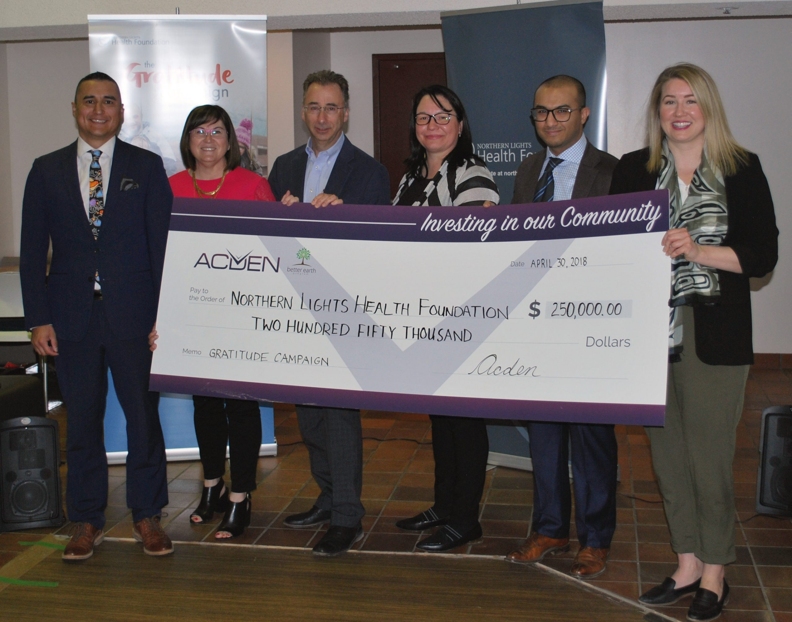 Acden Donates $250,000 To Northern Lights Health Foundation