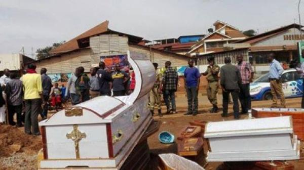 Police Stranded As Angry Traders Dump 37 Coffins At The Synagogue Church of All Nations